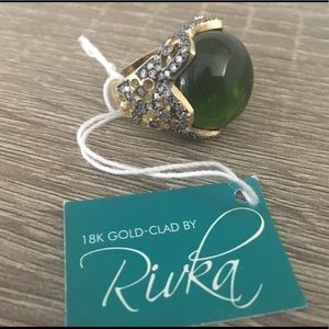 NWT Gorgeous Rivka Olive green Cocktail Ring sz 7